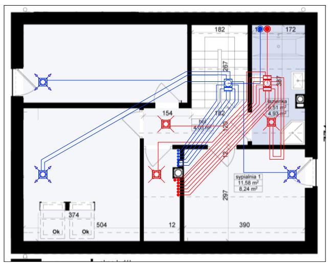 Schemat instalacji wentylacji mechanicznej z odzyskiwanie ciepła - poddasze